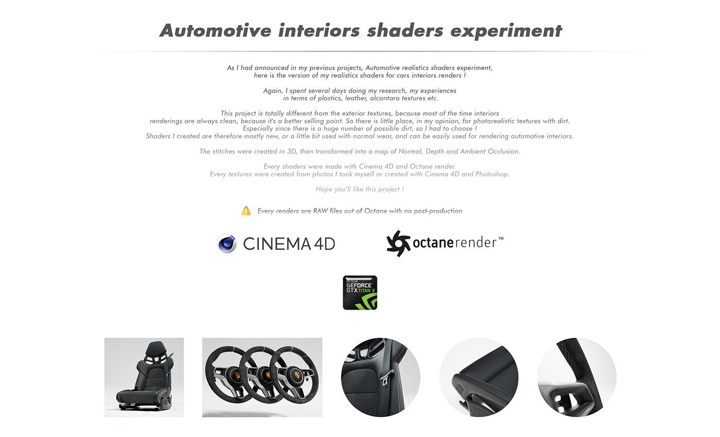 car shader Interior leather octane cinema 4d Render stitches realistic 3D