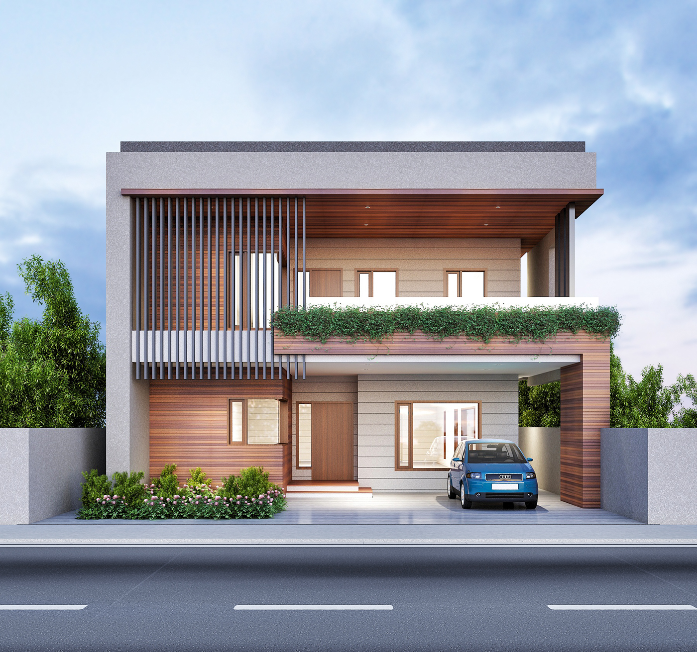 Renders exterior on behance for House front gallery design