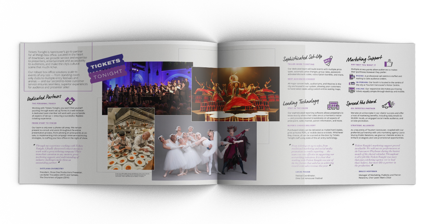 tourism vancouver BoxOffice icons brochure flyer silkmatte