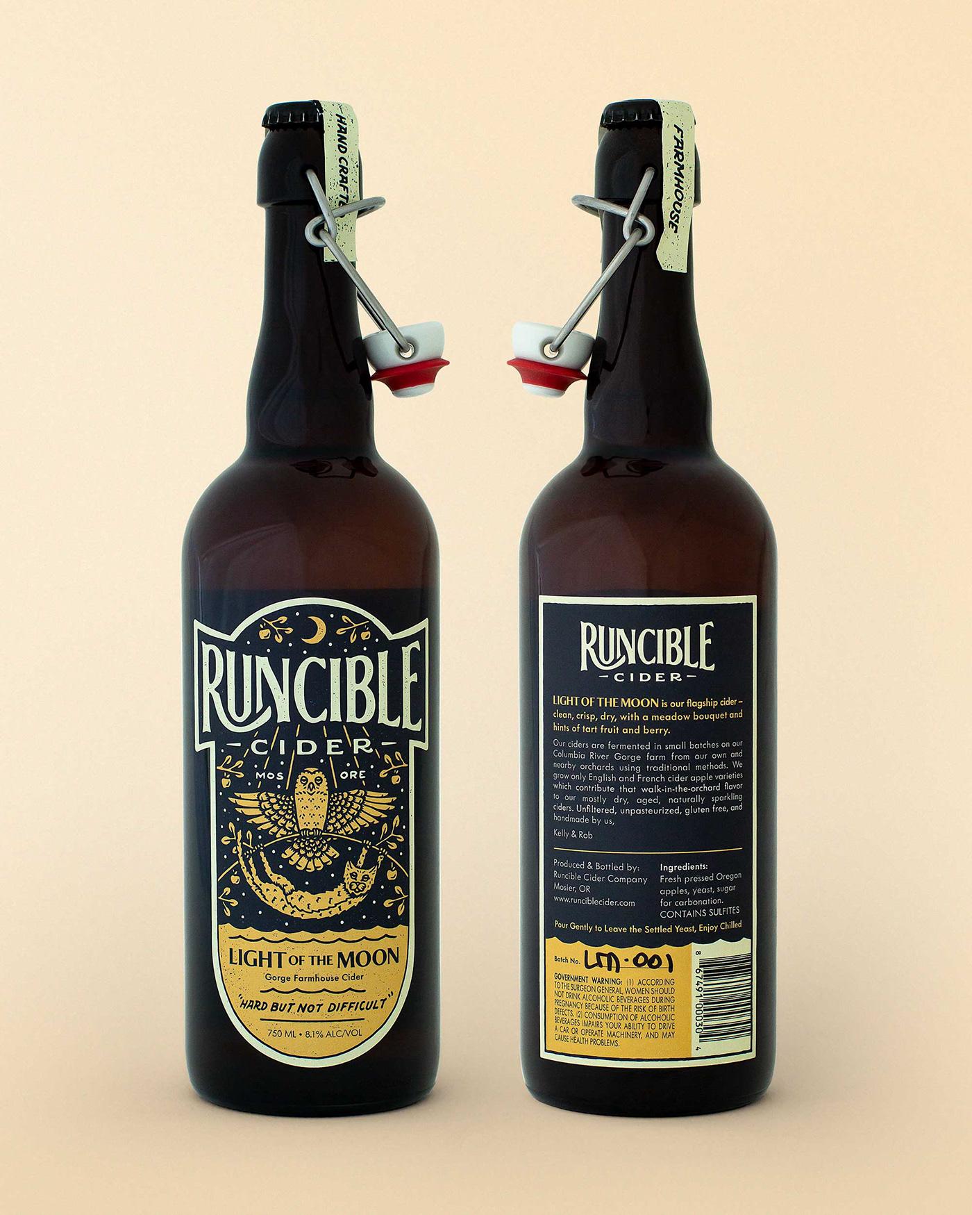 ILLUSTRATION  logo design branding  Label Packaging beverage cider bottle lettering