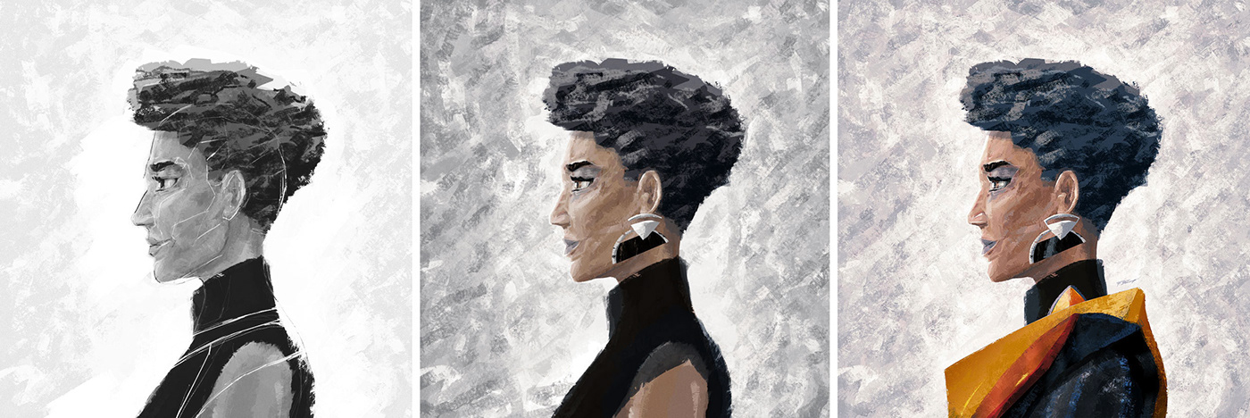 charakter digital 2d digital painting Drawing  franko schiermeyer ILLUSTRATION  portrait Silhouette ski fi woman