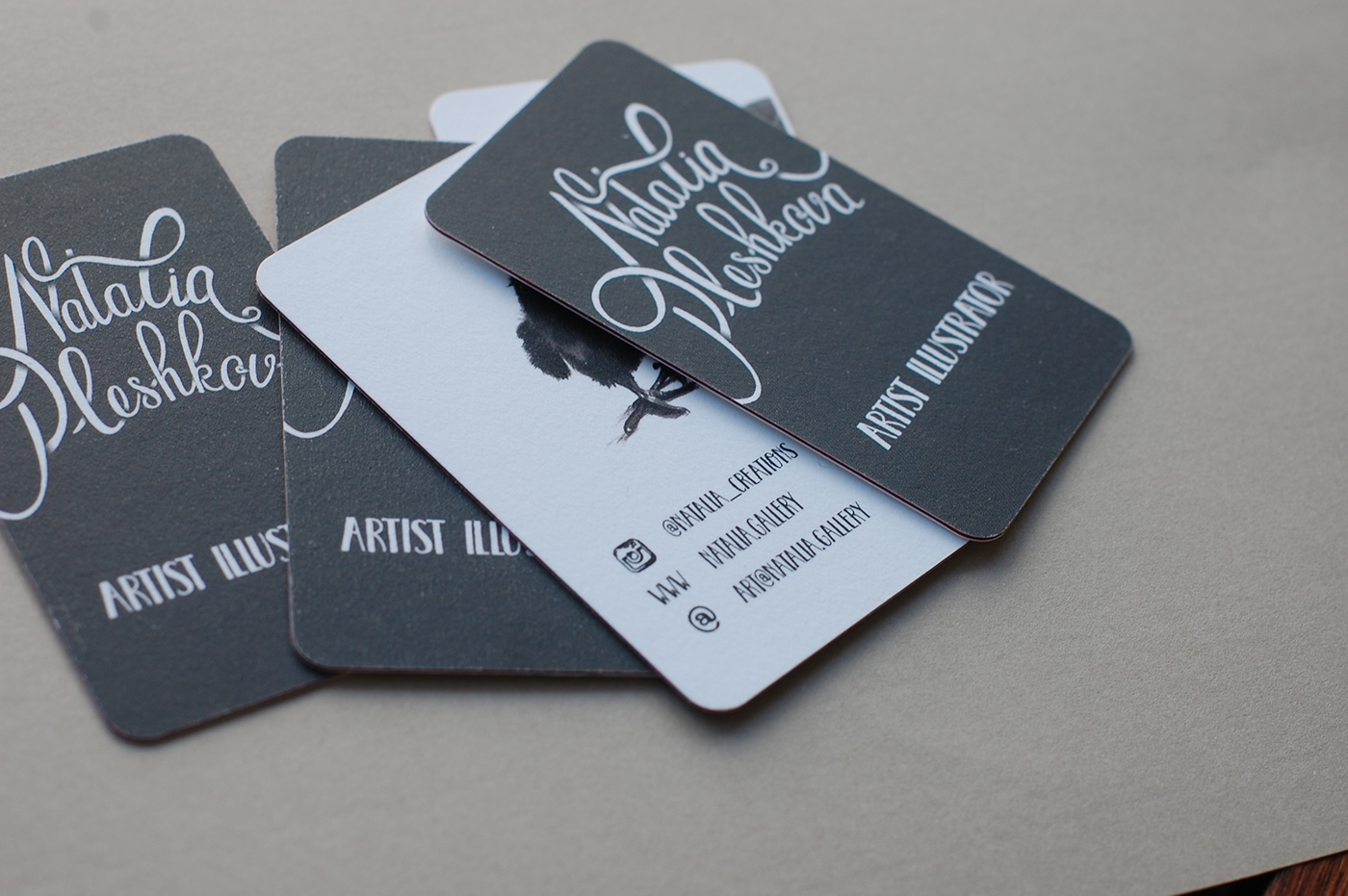 Calligraphy and business cards for Natalia Pleshkova on Behance