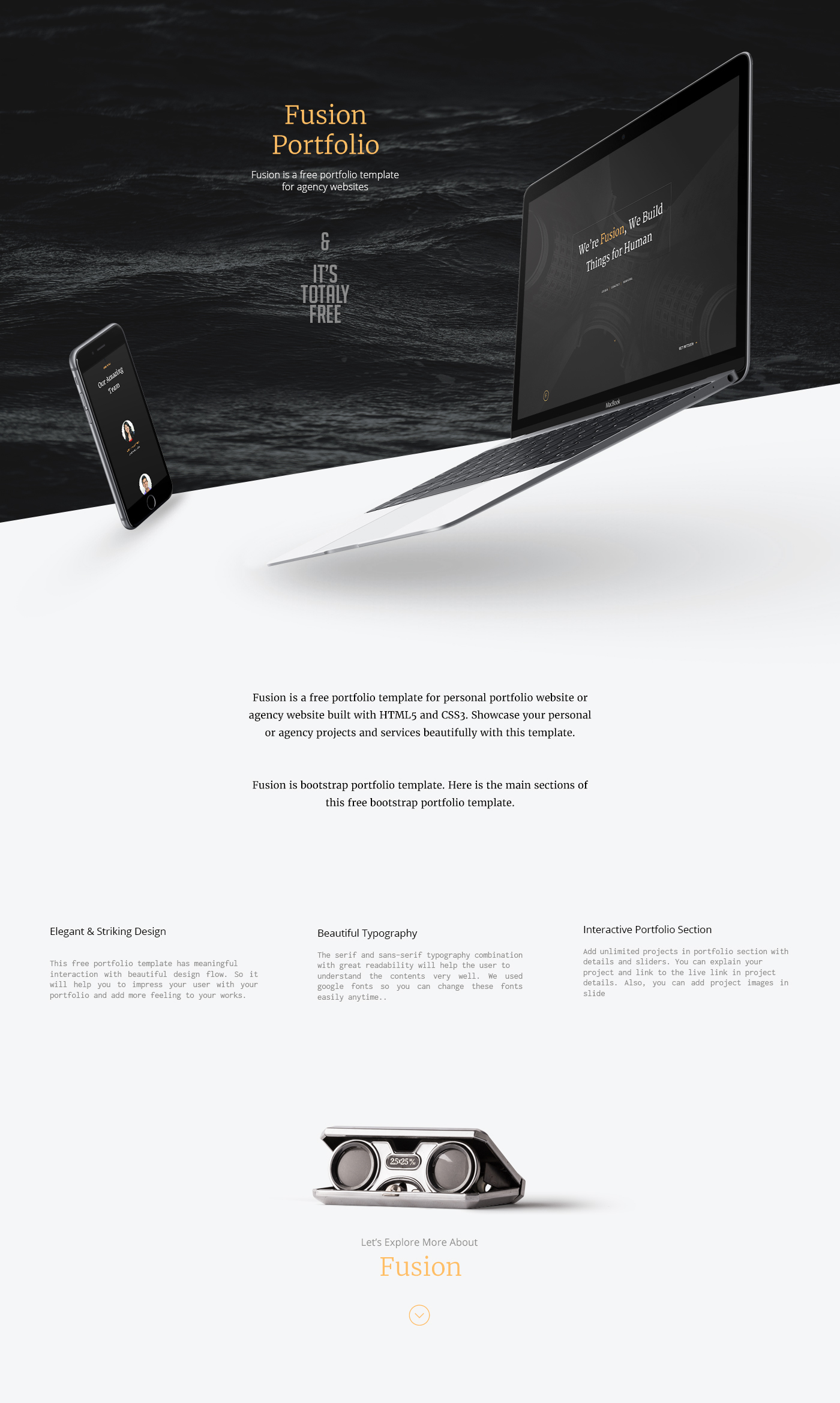 Fusion Free Portfolio Template HTML5 On Behance