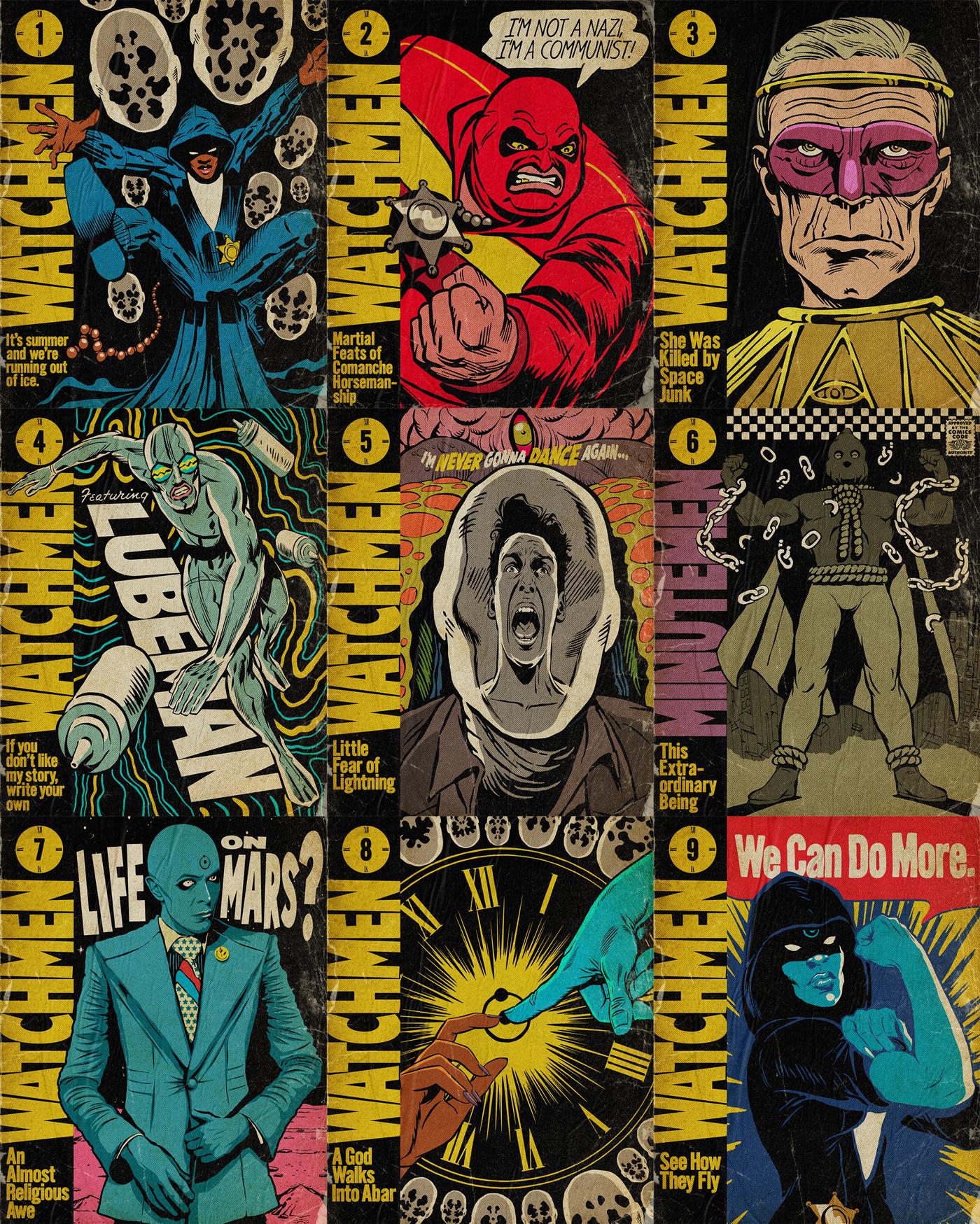 WatchMen hbo comics vintage Retro Sister Night looking glass alan moore DAMON LINDELOF dr. manhattan