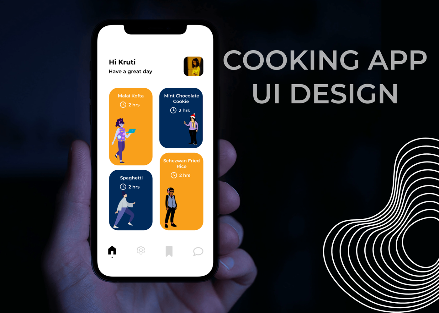 app cooking graphics icons ILLUSTRATION  mobile Mockup typography   UI ux