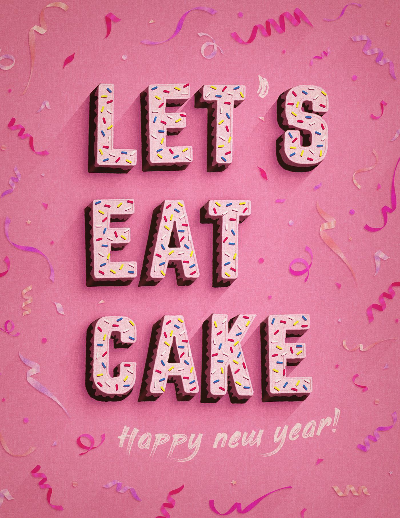 happy new year typography   ILLUSTRATION  design art Illustrative Type graphic art graphics