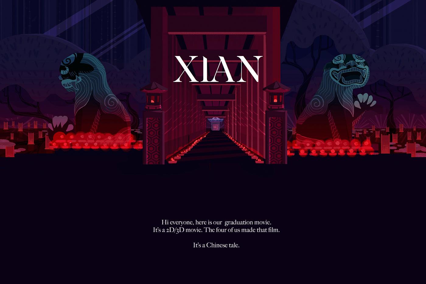 china xian movie emperor tale tiger animation  dragons painter garden