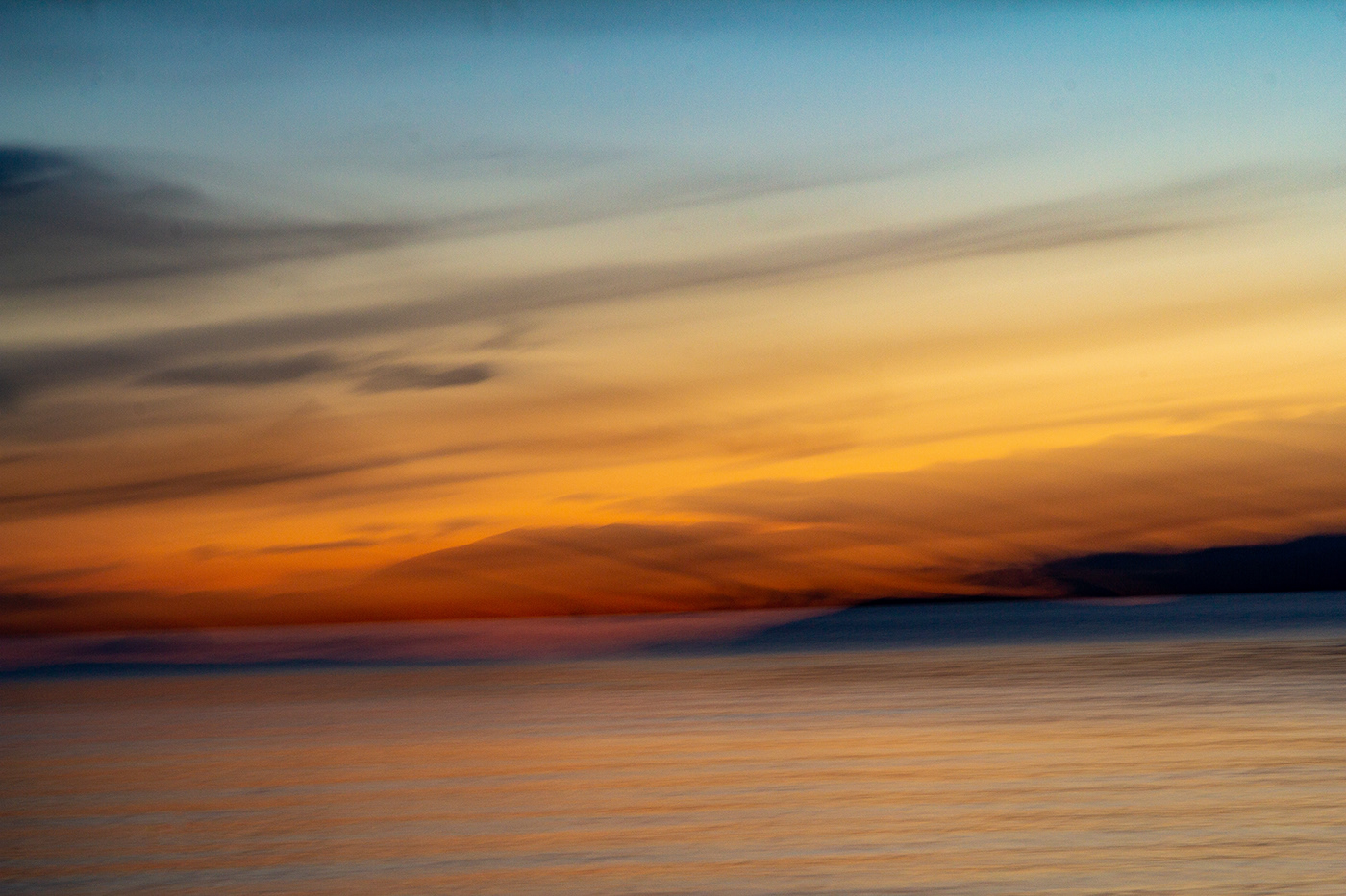 ICM photography, Lake Léman, Switzerland, sunset