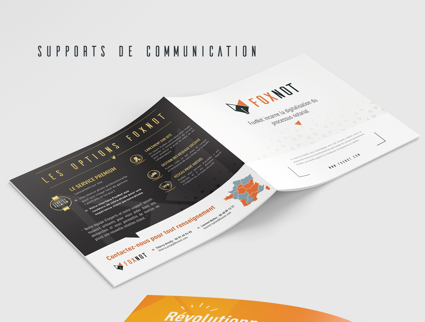 foxnot Notaire notary logo Webdesign tshirt rollup depliant design backoffice plateforme notarial notary plateform
