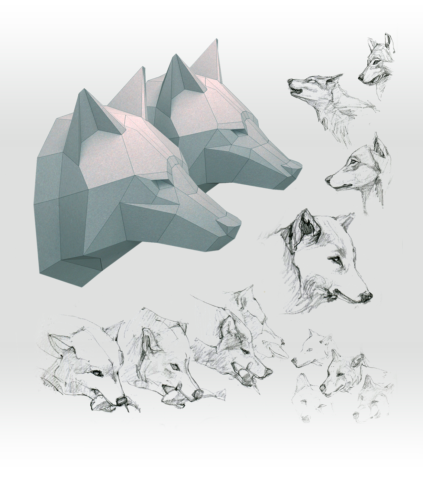 free 2d template of wolf s head on behance