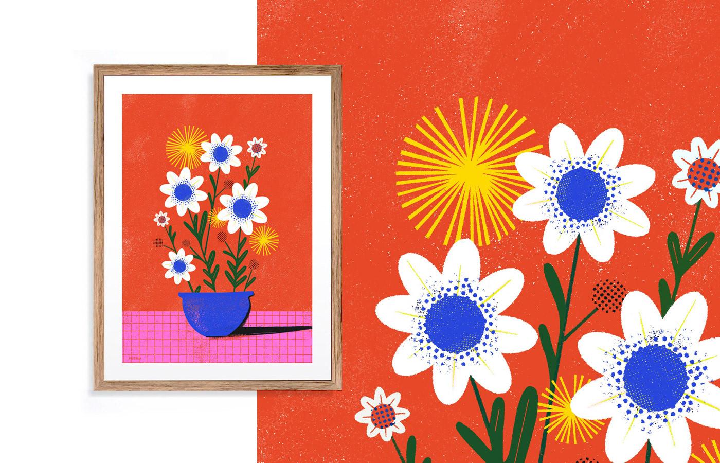 colors Flowers Illustrator Nature prints pueblaestudio