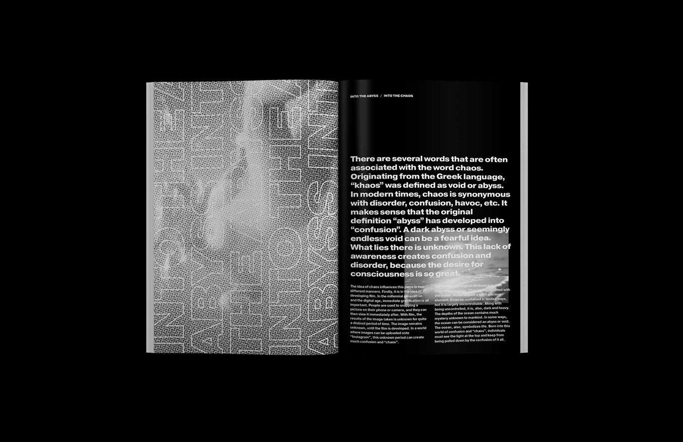 Zine  magazine black and white collage editorial design  print print collateral reflections writing  print design