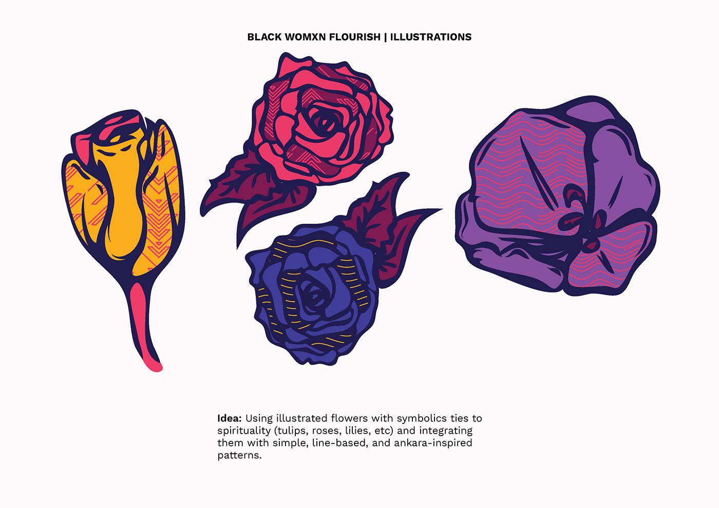 Black women branding  colors Flowers ILLUSTRATION  Patterns art black designers