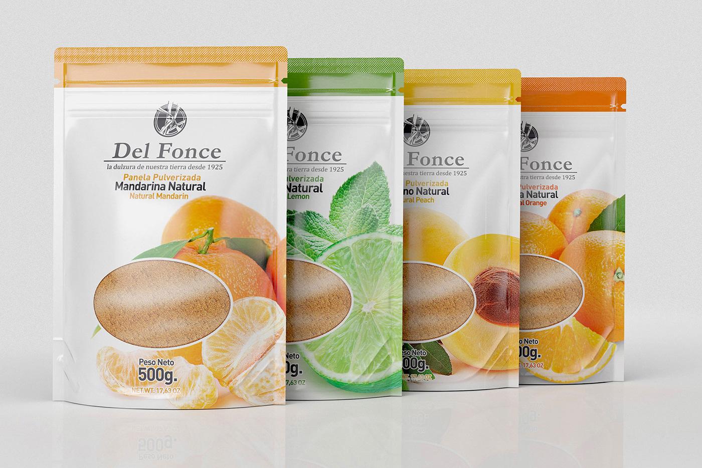 Cane sugar colombia fruits lemon peach orange brand logo bag david espinosa