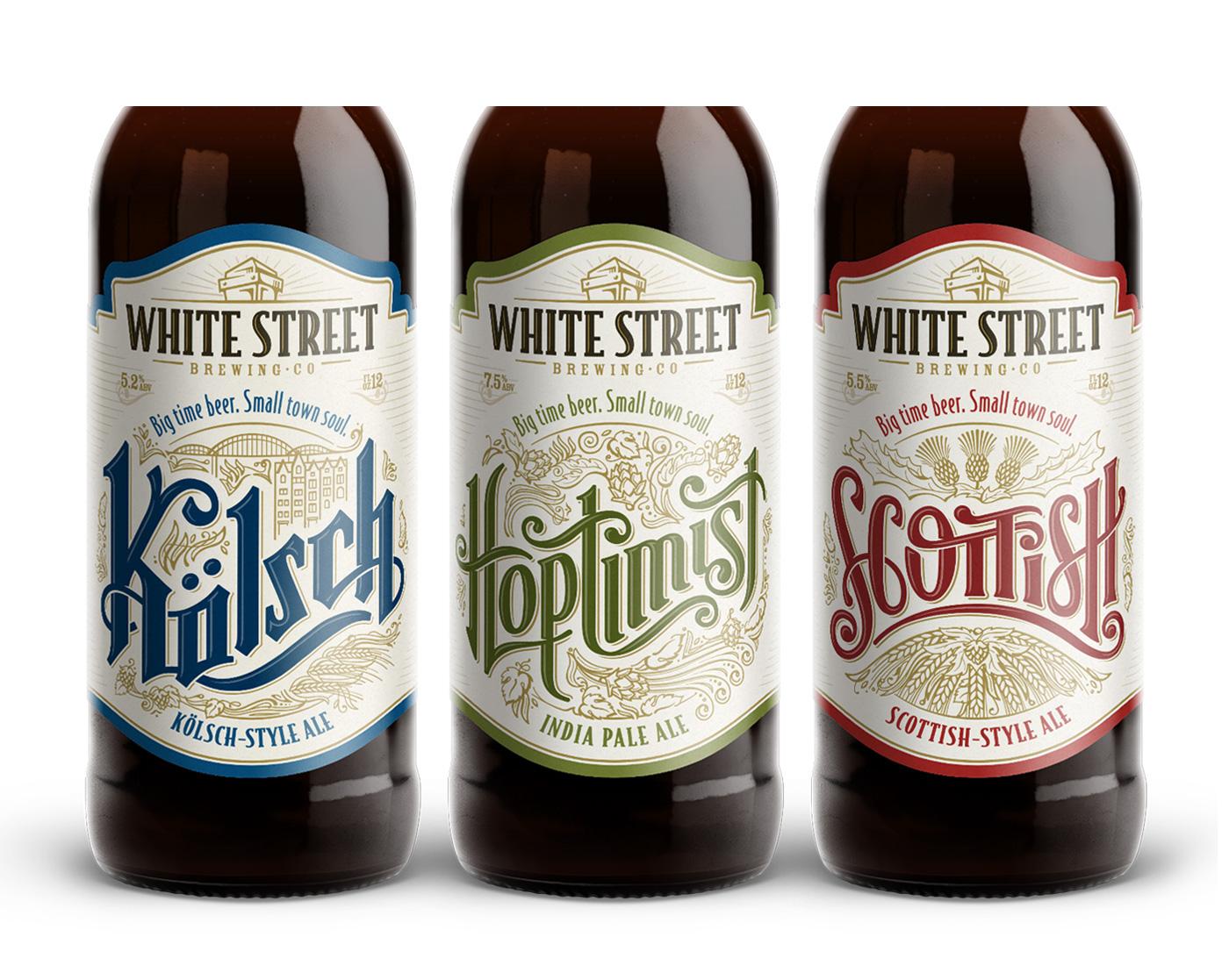 craft beer beer bottles tap handles brewery lettering HAND LETTERING north carolina craft Kolsch IPA nostalgia vintage type Custom