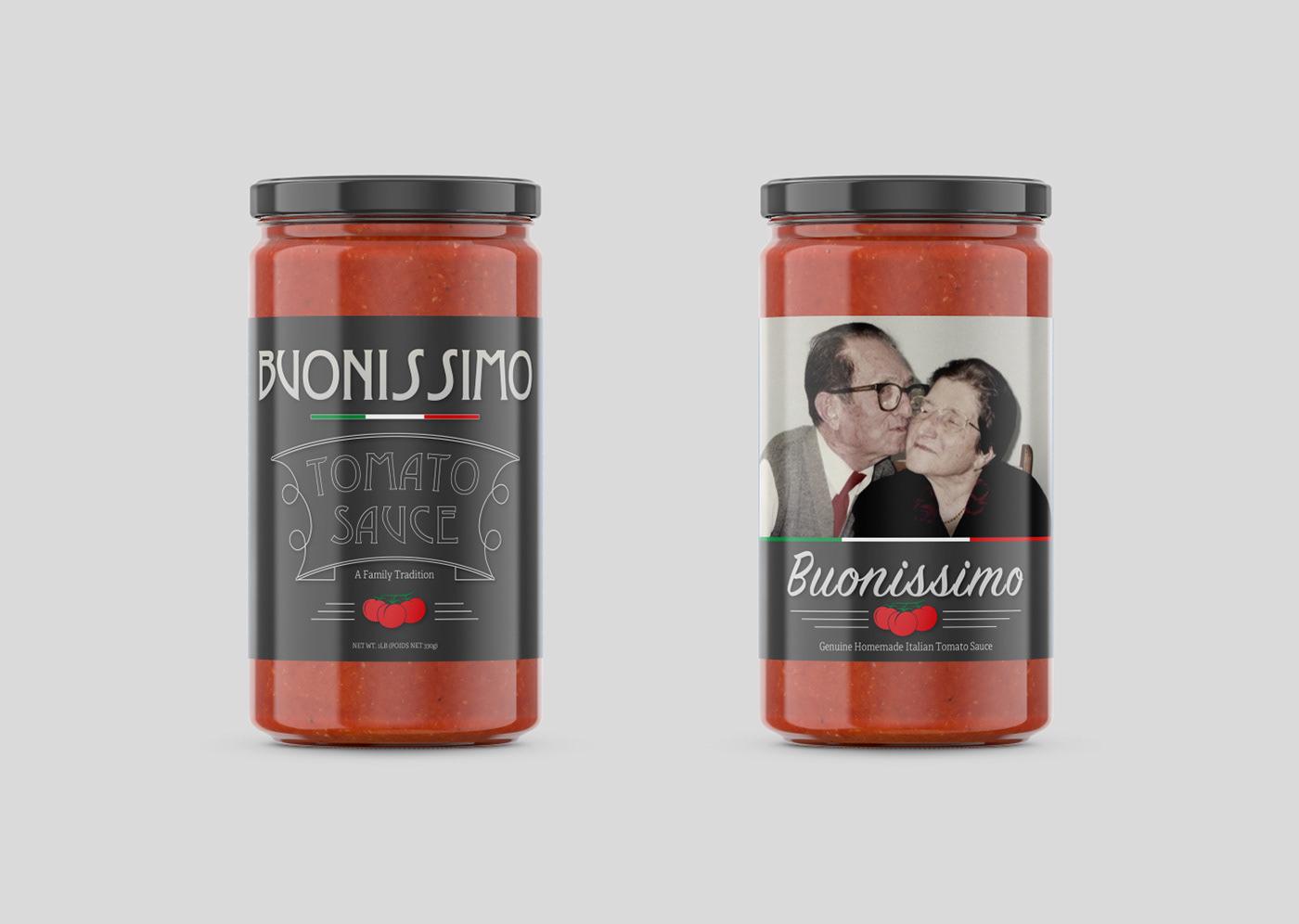 Label label design graphic design  tomato sauce Mockup jar mockup tomato sauce jar Buonissimo