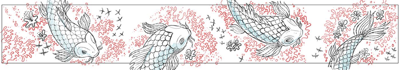 koi fish asian Mural illustrated birds dragon waterlilies oriental art
