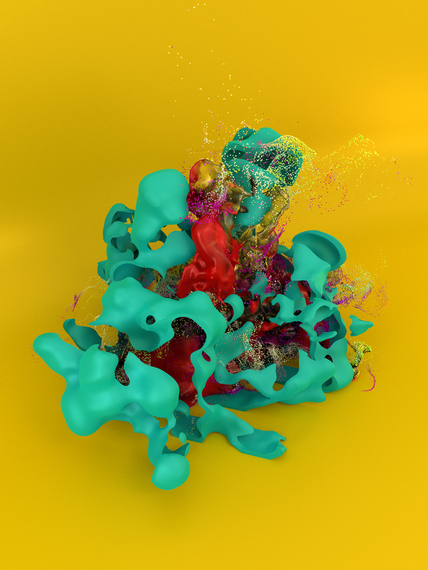particles Pyro yellow abstract simulations fluids volumes 3D fx