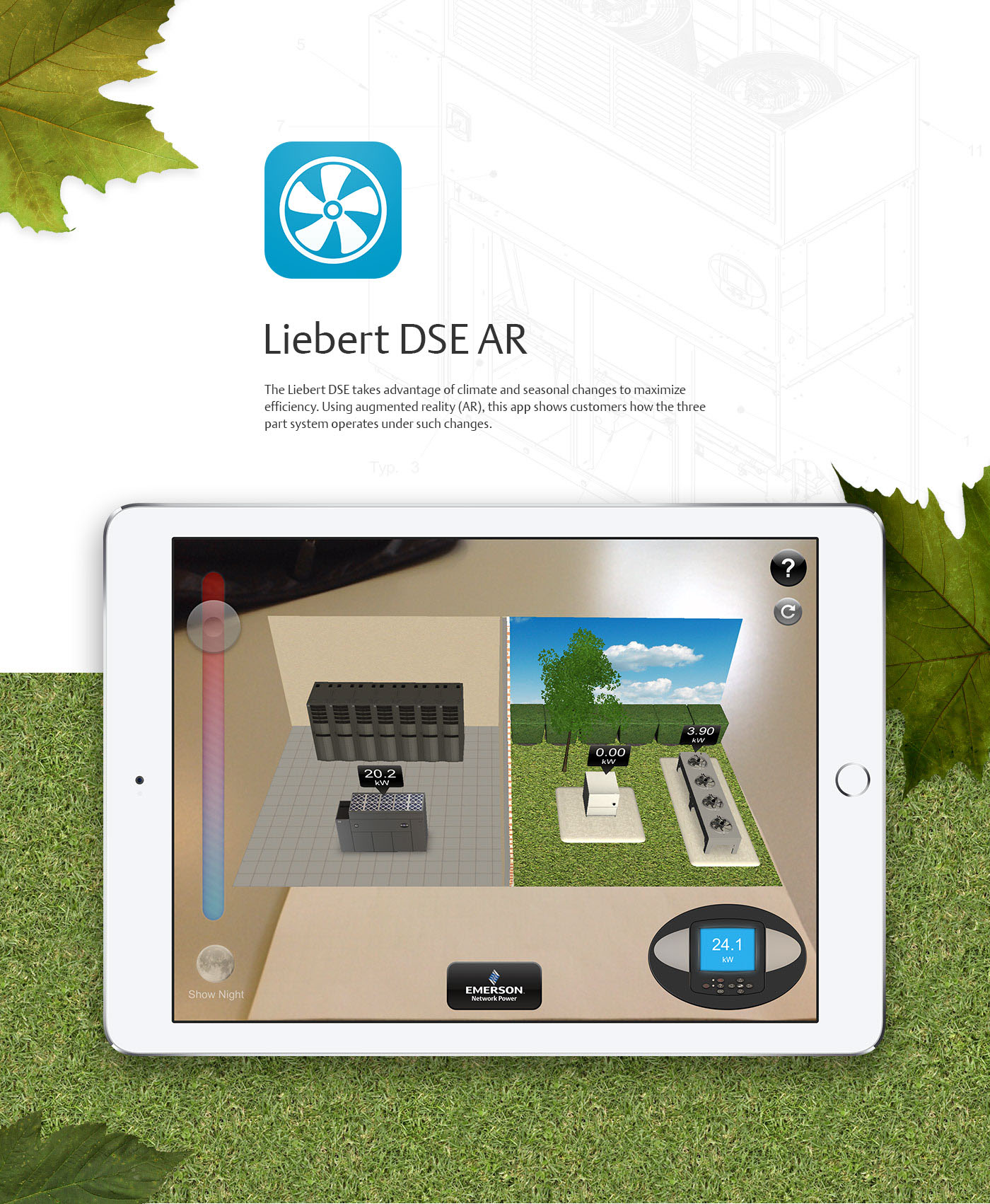 liebert emerson DSE augmented reality AR green seasons climate weather cooling data center Trade Show