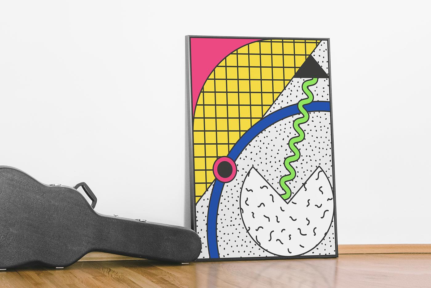 80s abstract seamless pattern bold free geometric Memphis shape ILLUSTRATION
