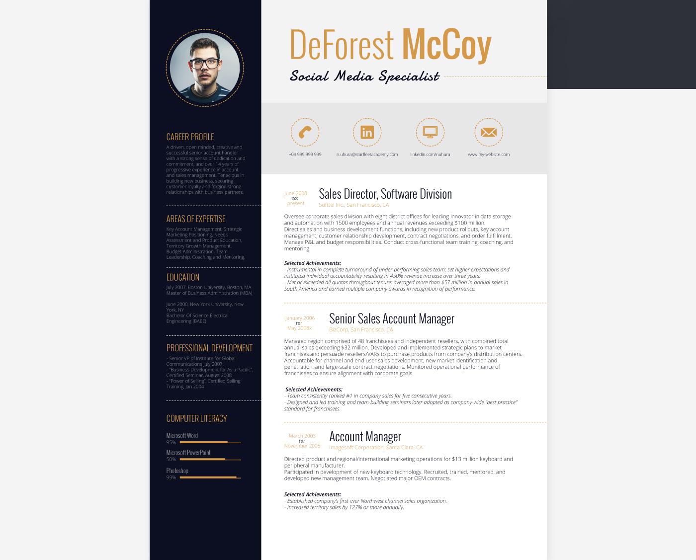alderamin  u2013 resume template on behance