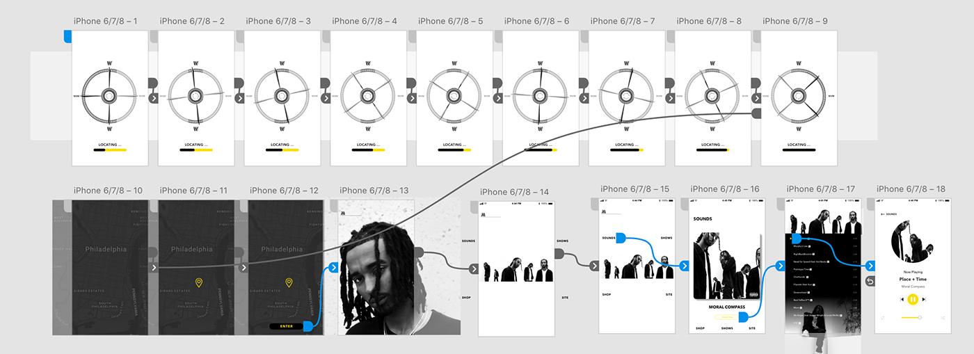 Adobe XD Mobile app app design music interaction UX design mobile bold ui design compass
