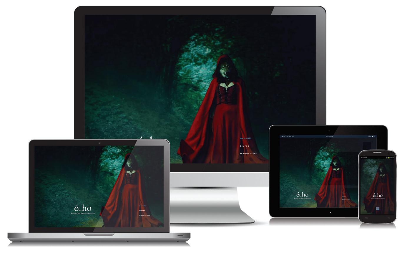 Différents format du site web des Éditions les Chemins Obscurs.