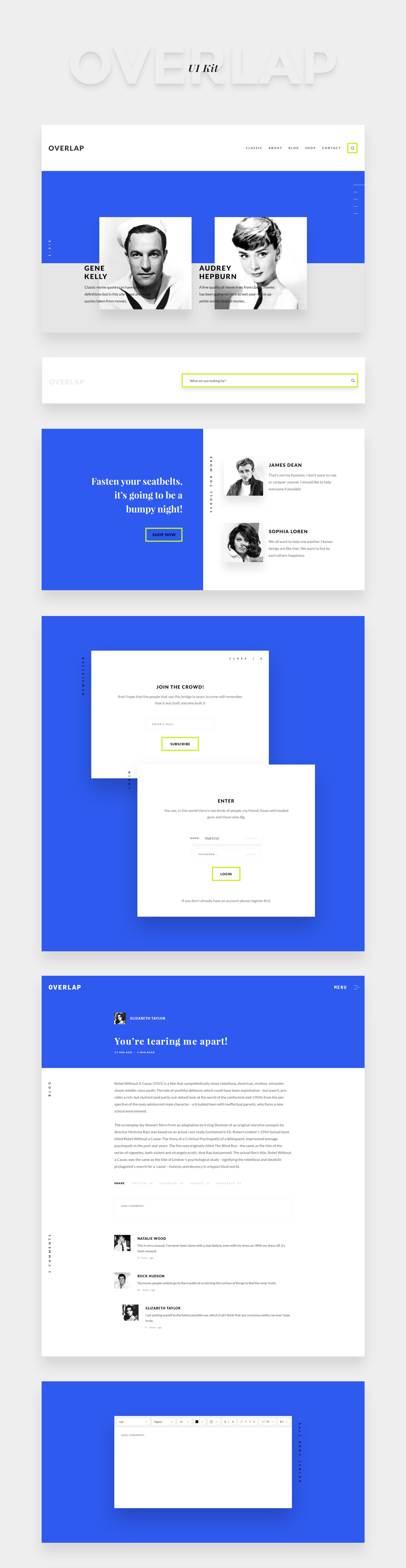 Blog UI ux free design Interface minimal concept blue trend Retro Webdesign page shadow flat