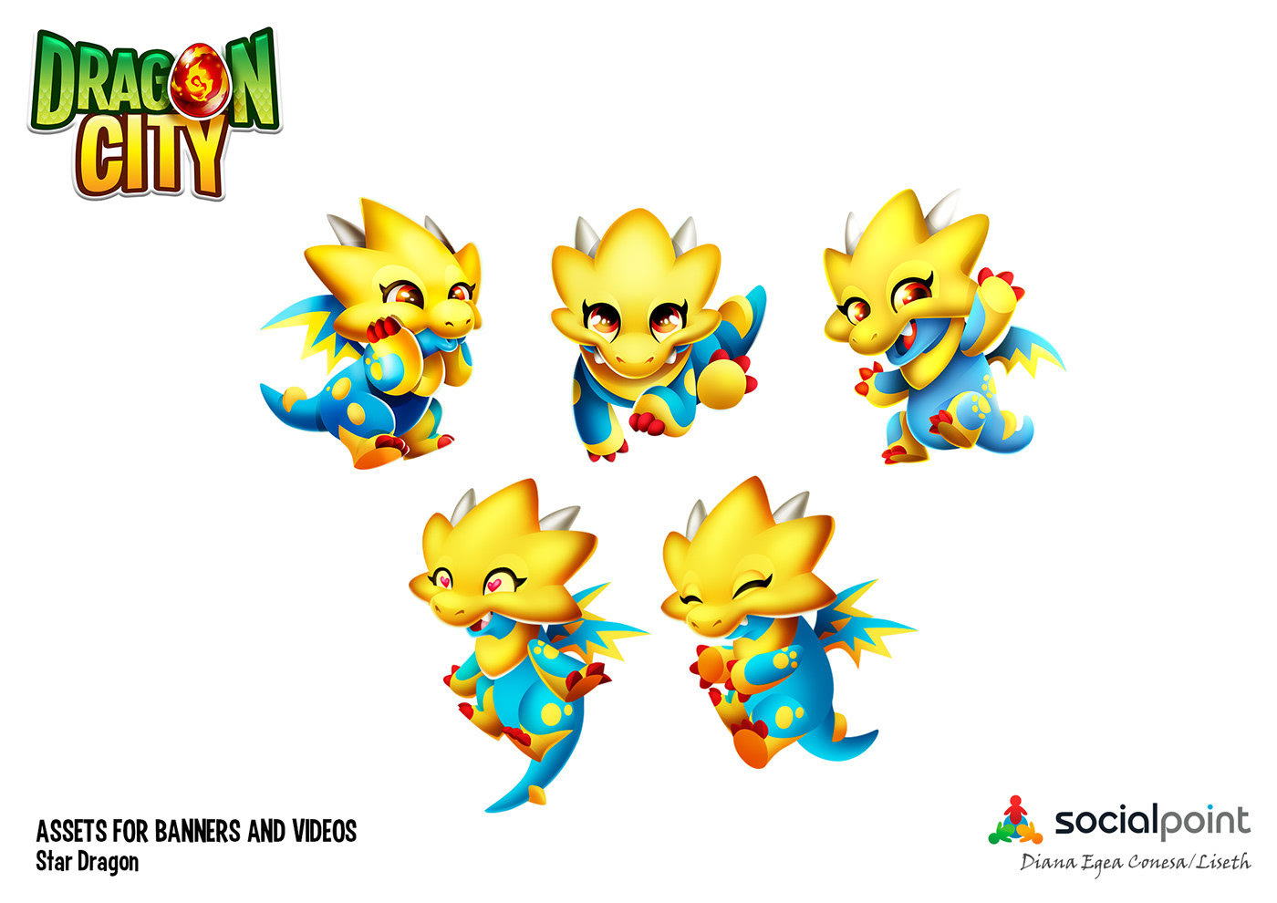Dragon City Social Point videogame characters dragons flame star
