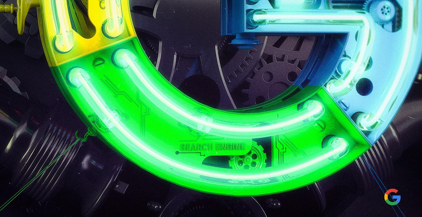 google Google Logo  neon 3D brand visual graphic STEAMPUNK