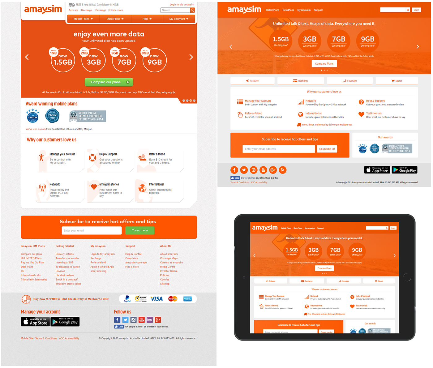 redesign concept homepage carrier phone Web design