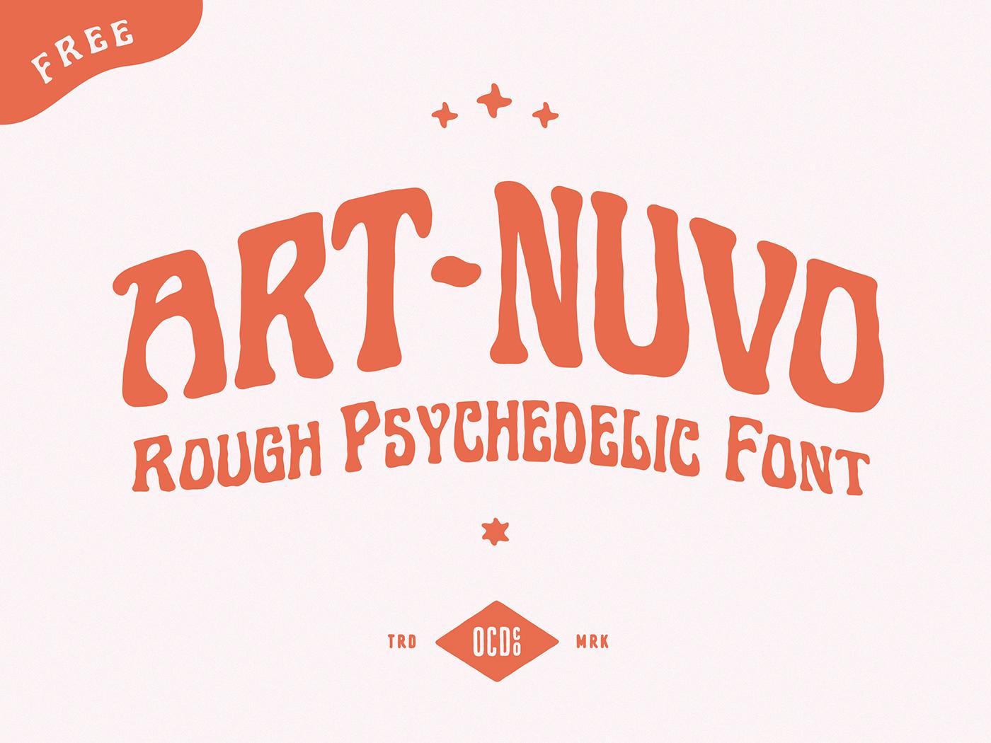 70s art nuveau free Free font freebie funky hand drawn psychedelic Retro rough