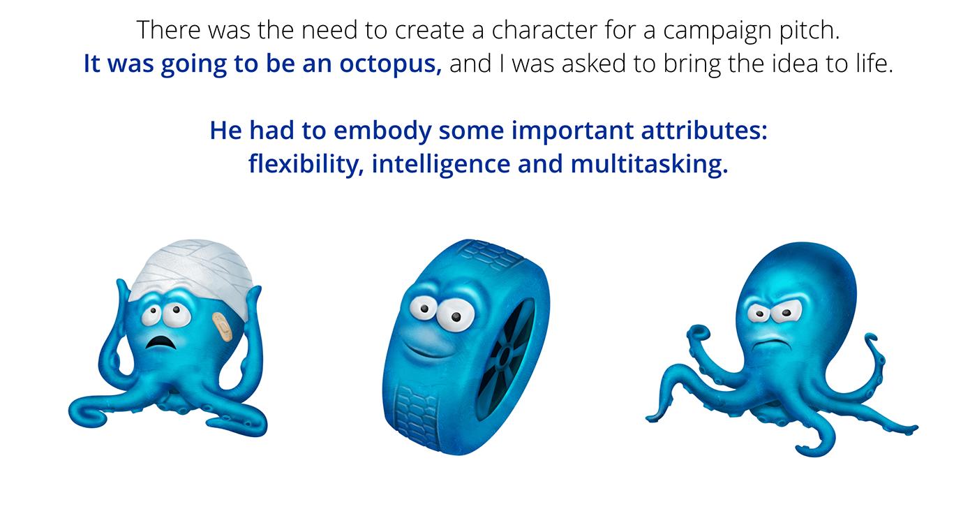 Character design Mascot octopus ILLUSTRATION