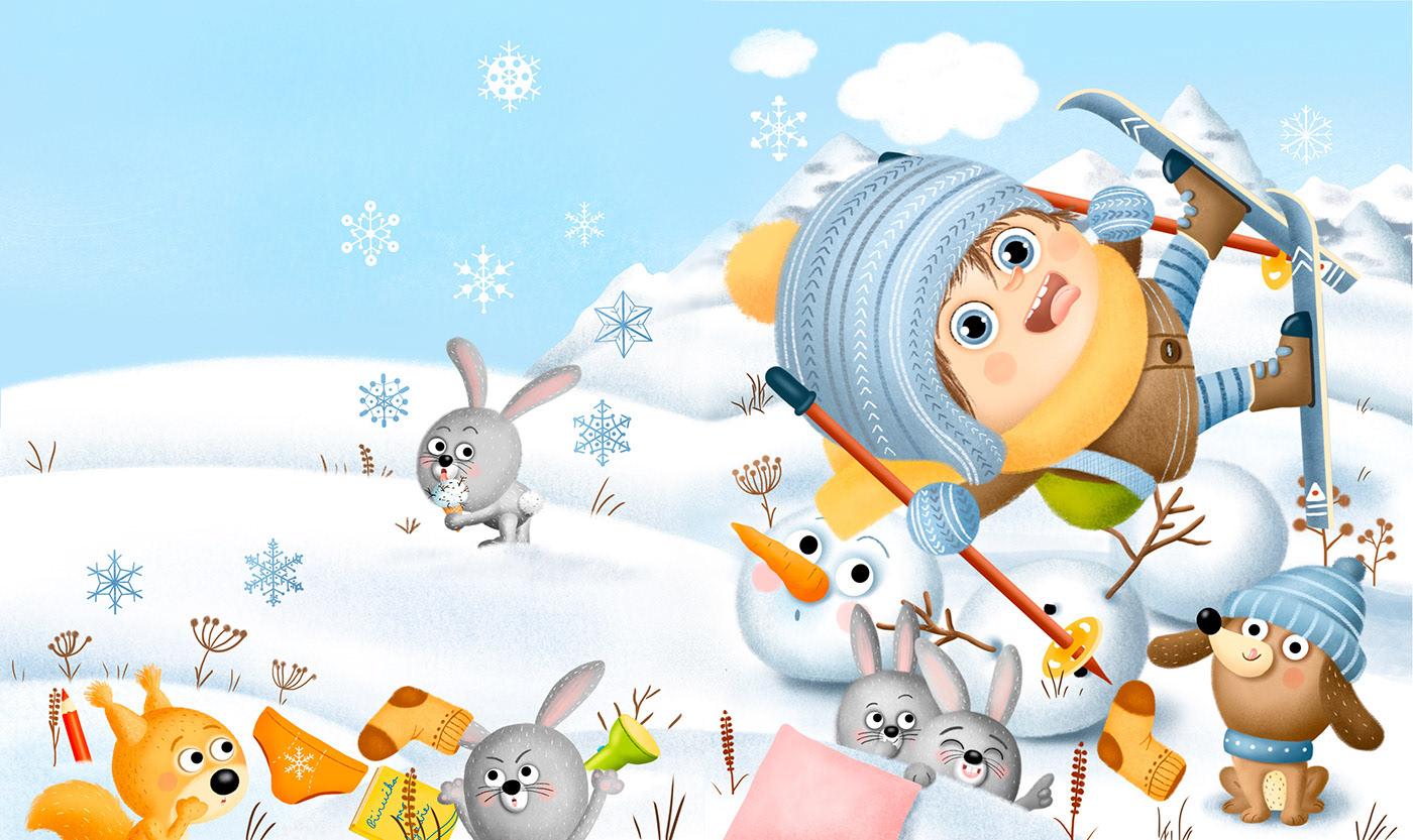 boy children girl snow winter