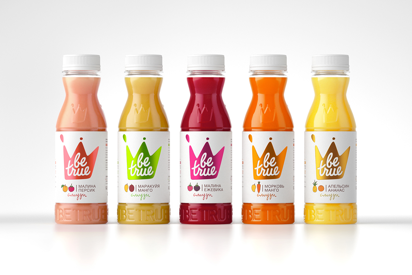bottle crown smoothie logo Food  Fruit juice be true pentawards Pack