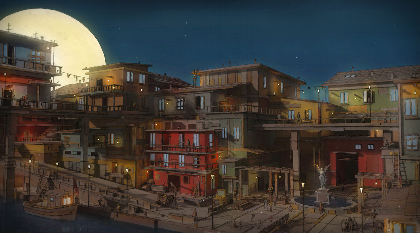 3D Illustration - Town by the Sea on Behance