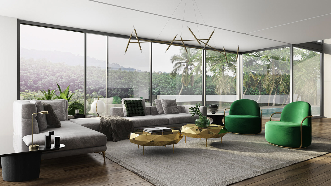 Trendy furniture shining metal transparent glass look amazing in soft daylight green and gold accents give the exquisite atmosphere to this fashionable