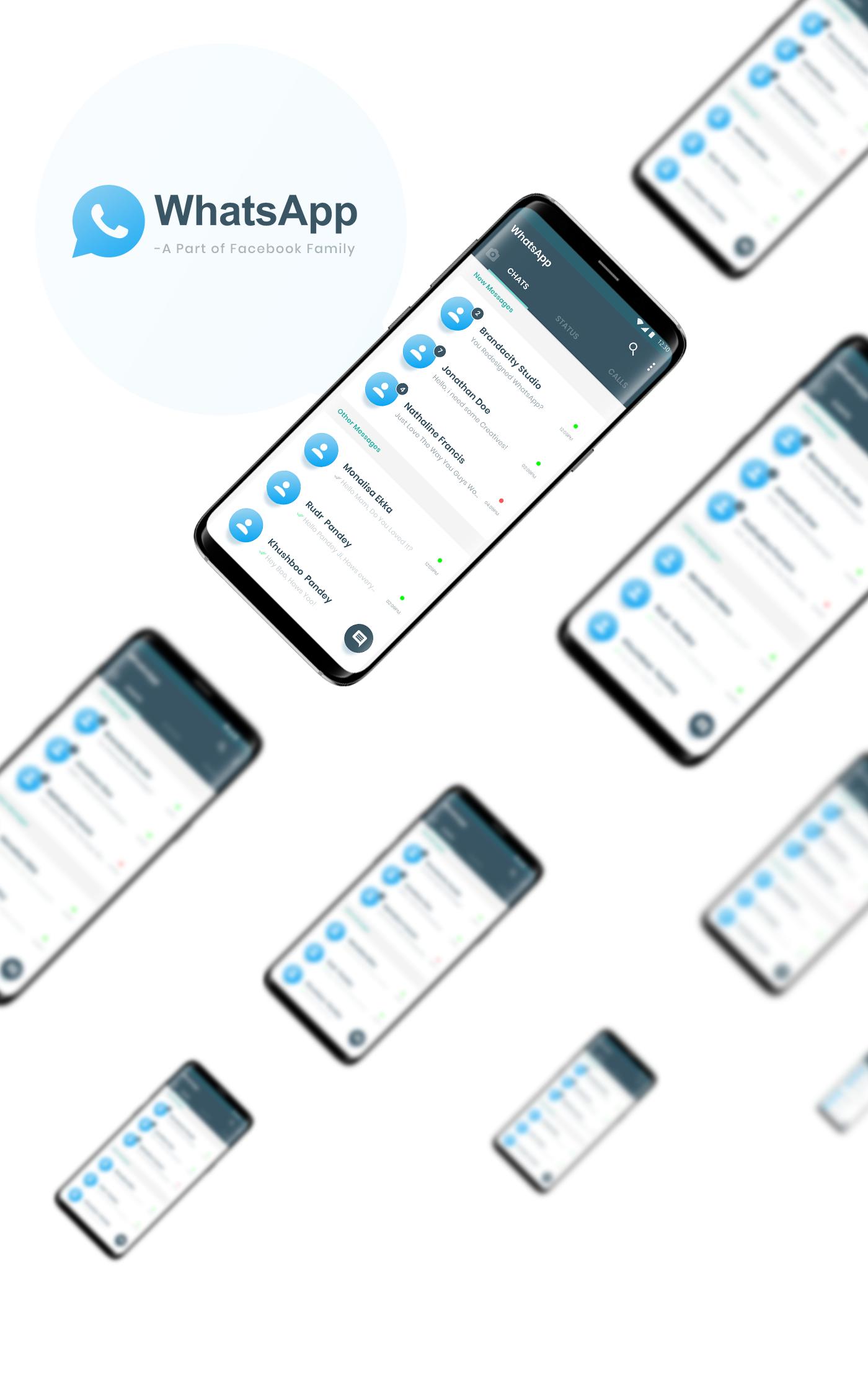 WhatsApp ReDesign Case Study : Plus Freebie Adobe XD Free UI