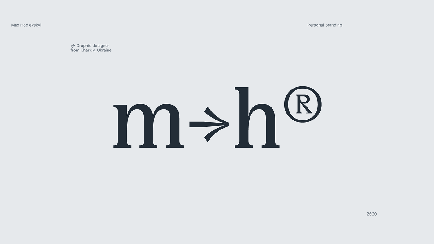 Simple typography logotype by Max Hodlevskyi. Logo was created for personal identity.
