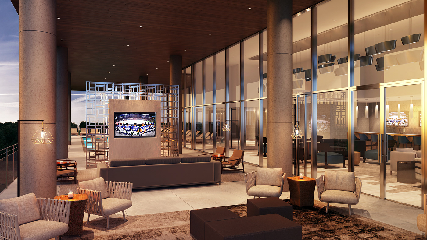Exterior Amenities space includes a lounge and pool