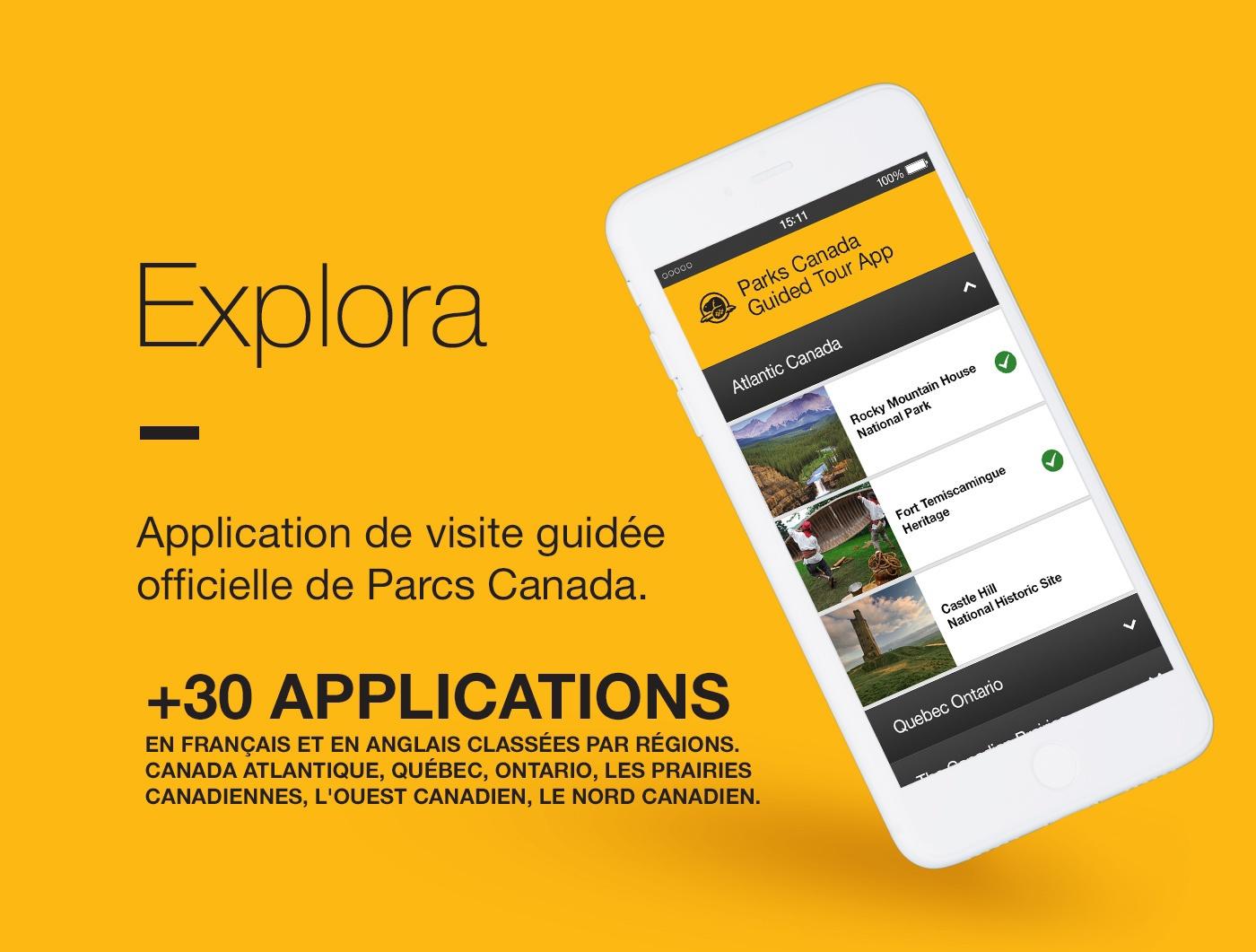 Parcs Canada parks canada Explora tourism Tourisme Quebec Ontario ouest canada nord canada application mobile