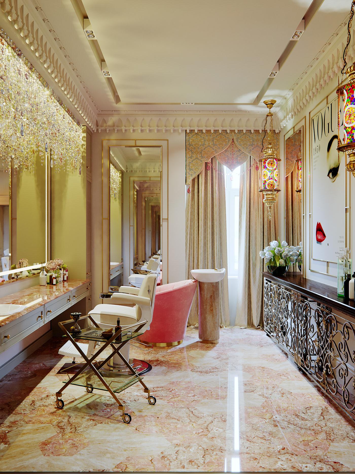 barber Interior clasics arabic Renderings
