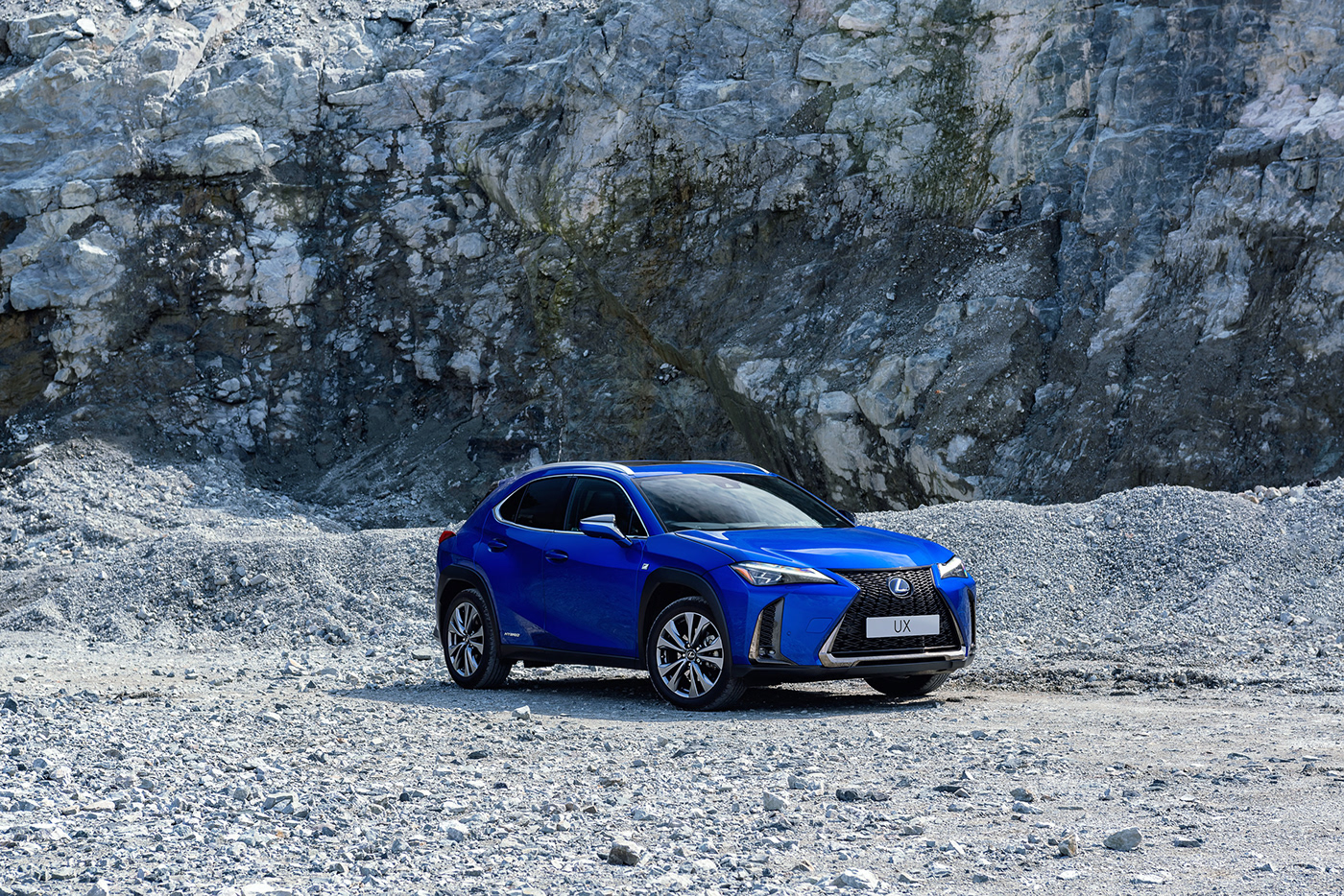 Lexus UX Hybrid car photography by Dean Wright Automotive. shot on moon like surface.