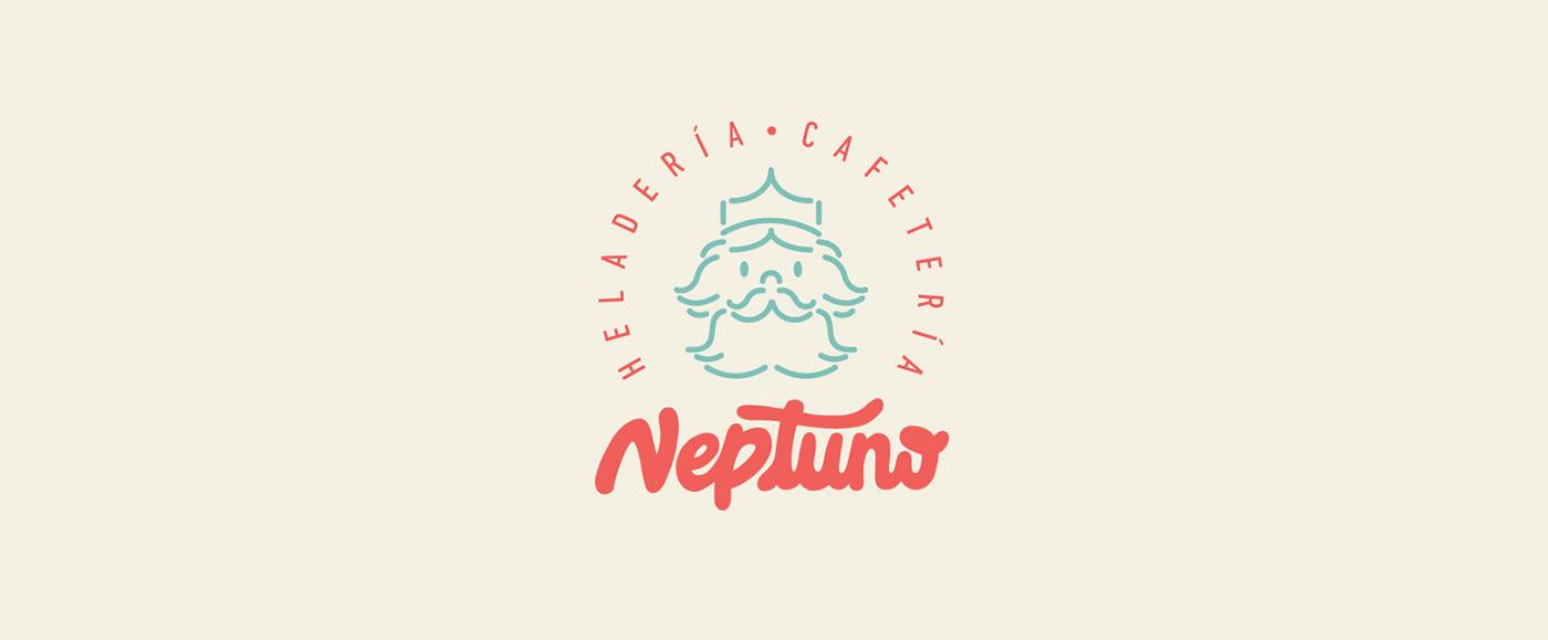 cafeteria heladeria ilustracion lettering Logotipo