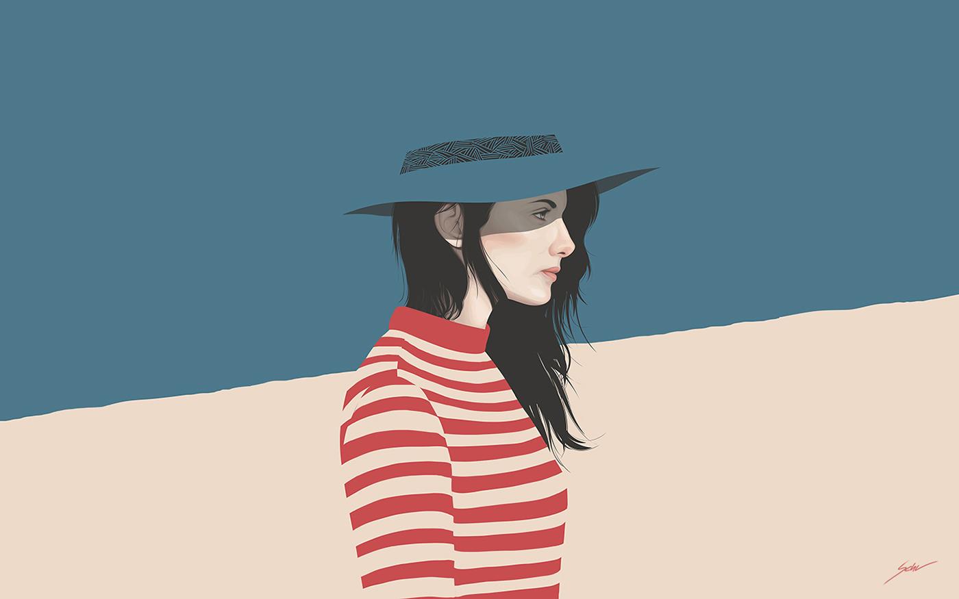 yuschav arly wallpaper Minimalism simple blue red portrait girl portraits vector vexel experimental personal