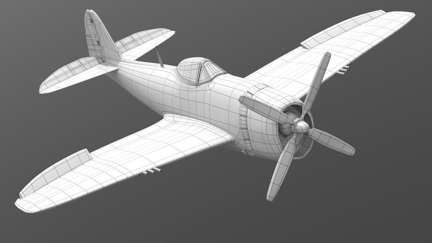 3D 3dmodel 3dmodeling Aircraft airplane plane Render World war 2 ww2