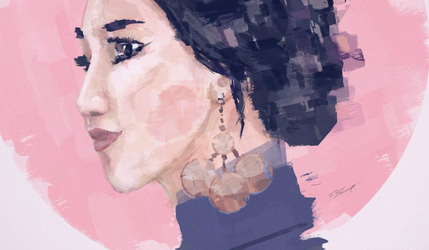 artwork asian digital painting franko schiermeyer ILLUSTRATION  japanese painting   pastel portrait woman