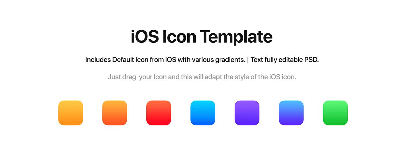 ios Icon ios icon template psd template Mockup presentation apple ios icon psd app