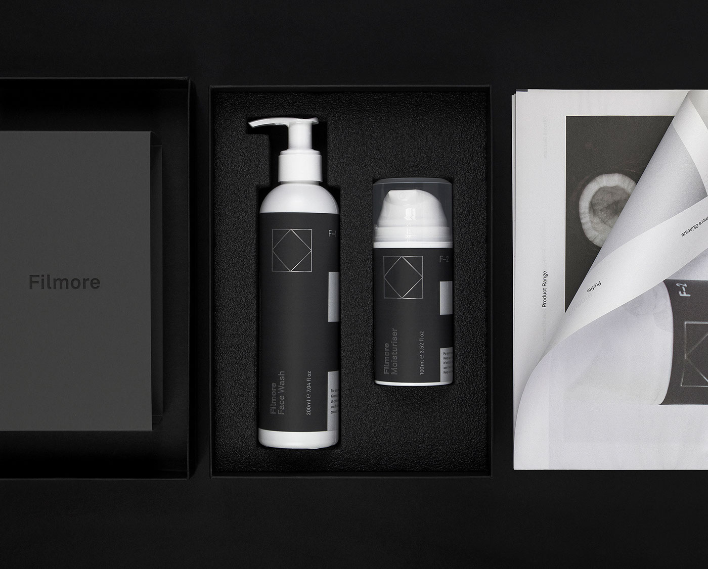 Filmore skincare Packaging grooming freytaganderson scotland glasgow beauty labels face wash