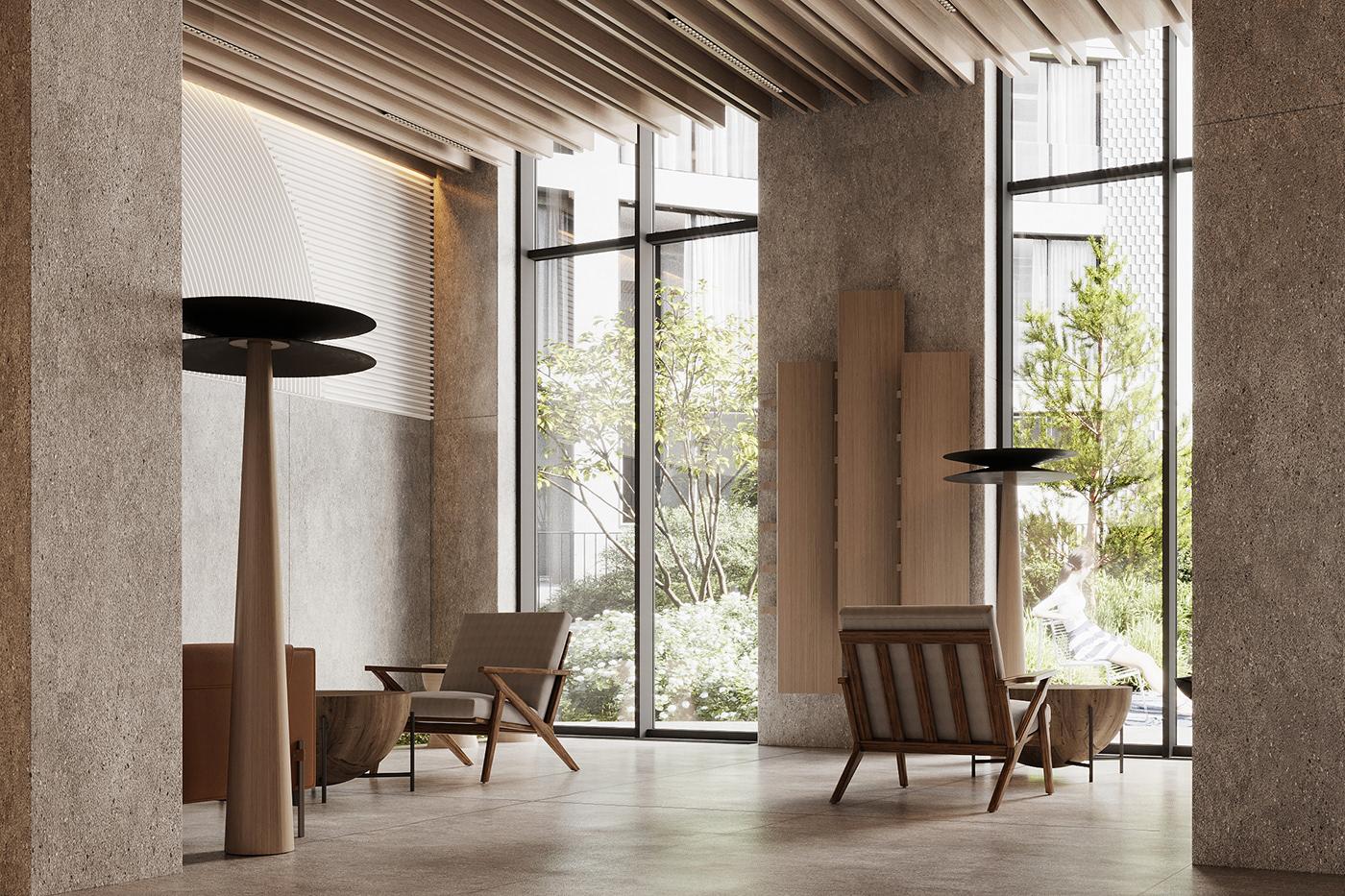 architecture archviz cgartist Hall Design Interior interior design  minimal modern Render visualization
